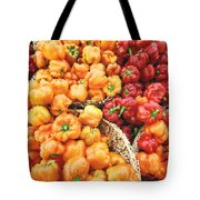 Tile Peppers Tote Bag