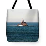 Tillamook Rock Lighthouse On A Calm Day Tote Bag