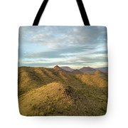 Tilt-shift Mountains In Sun Tote Bag