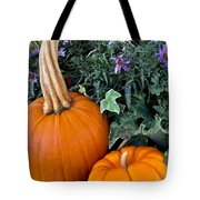 Time For Pumpkins In The Flower Beds Tote Bag