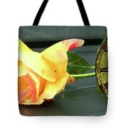 Time To Give A Rose - Yellow And Pink Rose - Clock Face Tote Bag
