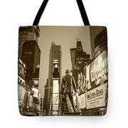 Times Square Ny Overlooking The Square Sepia Tote Bag