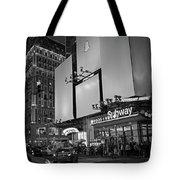 Times Square Subway Stop At Night New York Ny Black And White Tote Bag