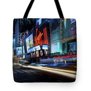 Times Square With Light Trail Tote Bag