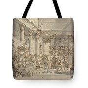 Timotheus Playing The Lyre Before Alexander And Tha?s In The Hall Of The Palace At Persepolis Tote Bag