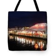 Tin City At Night -naples Fl Tote Bag