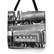 Tin Toy Trains Tote Bag