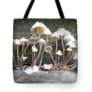 Tiny Mushrooms On The Step Tote Bag
