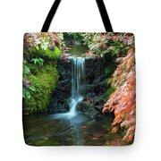 Tiny Waterfall In Japanese  Garden.the Butchart Gardens,victoria.canada. Tote Bag