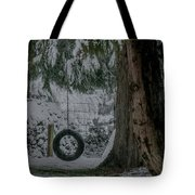 Tire Swing In Winter Tote Bag