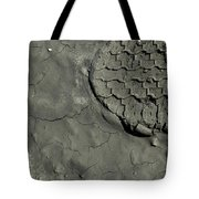 Tire Track In Gray Mud Tote Bag