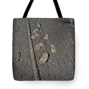 Tire Tracks And Foot Prints Tote Bag
