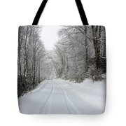 Tire Tracks In Fresh Snow Tote Bag