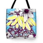 Tired Turtle With Bananas And Blooms Tote Bag