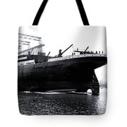 Titanic Being Launched Tote Bag