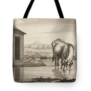 Title A Cow Standing In A Pool Beside  Tote Bag