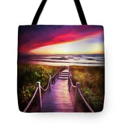 To The Beach Early Morning Watercolor Painting Tote Bag