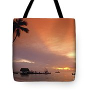 Tobago, Pigeon Point Sunset, Caribbean Sea, Tote Bag