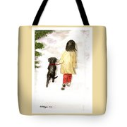 Together - Black Labrador And Woman Walking Tote Bag