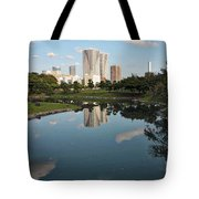Tokyo Buildings And Garden Pond Tote Bag