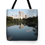 Tokyo Highrises With Garden Pond Tote Bag