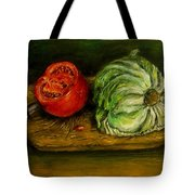 Tomato And Cabbage Oil Painting Canvas Tote Bag