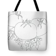 Tomatoes On A Vine In One Line Tote Bag