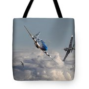 Top Gun - 1944 Version - P51 V Bf109g Tote Bag