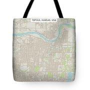 Topeka Kansas Us City Street Map Tote Bag