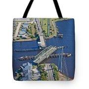 Topsail Island Swing Bridge Tote Bag by Betsy Knapp