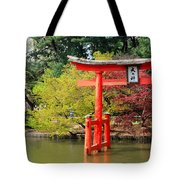 Torii And Cherry Blossoms Tote Bag
