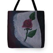 Torn Canvas Rose Tote Bag