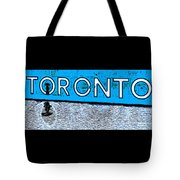 Toronto In The Rain Poster In Blue Tote Bag