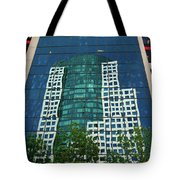 Toronto Metro Hall Reflected In The Cbc Building Tote Bag