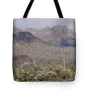 Tortolita Mountains Snowy Sunrise Tote Bag