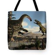 Torvosaurus And Apatosaurus Dinosaurs Fighting - 3d Render Tote Bag