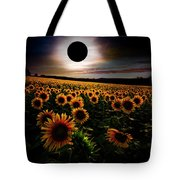 Total Eclipse Over The Sunflower Field Tote Bag