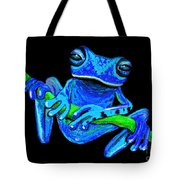 Totally Blue Frog On A Vine Tote Bag
