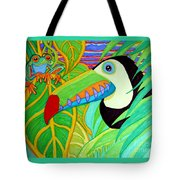 Toucan And Red Eyed Tree Frog Tote Bag
