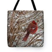 Touch Of Red For An Icy Morning Tote Bag