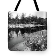 Touch Of Winter Black And White Tote Bag