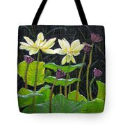 Touching Lotus Blooms Tote Bag