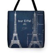 Tour Eiffel Engineering Blueprint Tote Bag