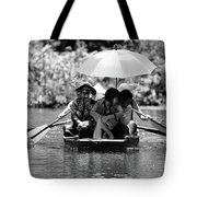 Tourist Boating Thru Tam Coc Bw Tote Bag