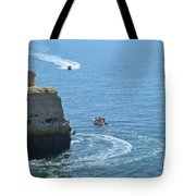 Tourist Boats And Cliffs In Algarve Tote Bag