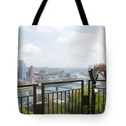 Tourist Looking Through Viewfinder Tote Bag