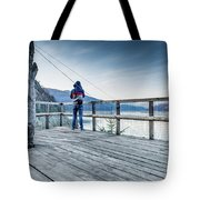 Tourist Taking Picture  Tote Bag