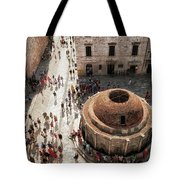 Tourists At Dubrovnik's Onofrio's Fountain Tote Bag