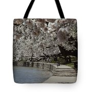 Tourists Enjoy The View At The Tidal Tote Bag
