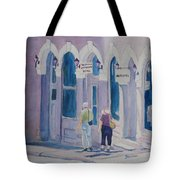 Tourists In Central City Tote Bag